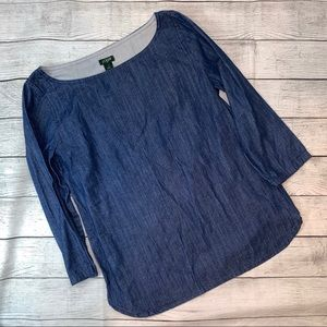 J.Crew 3/4 Sleeve Blue Chambray Top Size 0